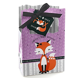 Miss Foxy Fox - Personalized Baby Shower Favor Boxes - Set of 12