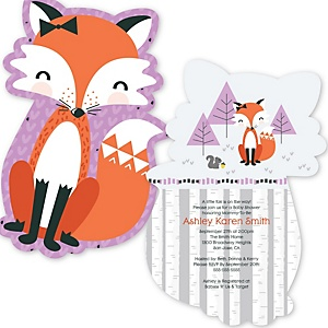 Miss Foxy Fox - Shaped Baby Shower Invitations - Set of 12