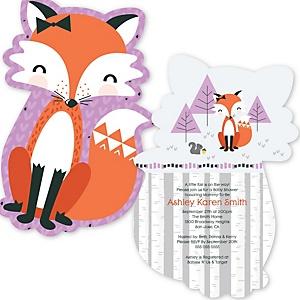 Miss Foxy Fox - Shaped Baby Shower Invitations - Set of 12