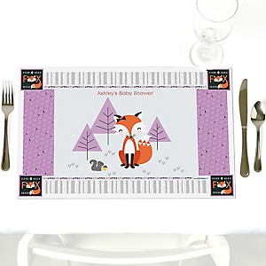 Miss Foxy Fox - Personalized Baby Shower Placemats
