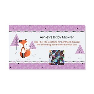 Miss Foxy Fox - Personalized Baby Shower Game Scratch Off Cards - 22 ct