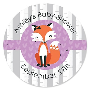 Miss Foxy Fox - Personalized Baby Shower Sticker Labels - 24 ct