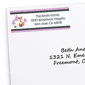 Miss Foxy Fox - Personalized Birthday Party Return Address Labels - 30 ct