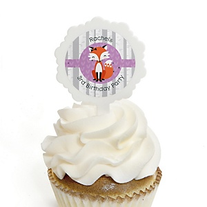 Miss Foxy Fox - Personalized Birthday Party Cupcake Pick and Sticker Kit - 12 ct