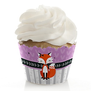 Miss Foxy Fox - Birthday Decorations - Party Cupcake Wrappers - Set of 12