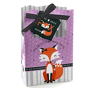 Miss Foxy Fox - Personalized Birthday Party Favor Boxes - Set of 12