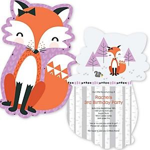 Miss Foxy Fox - Shaped Birthday Party Invitations - Set of 12