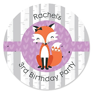 Miss Foxy Fox - Personalized Birthday Party Sticker Labels - 24 ct