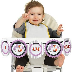 Miss Foxy Fox- 1st Birthday - I am One - First Birthday High Chair Banner