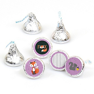 Miss Foxy Fox - Round Candy Labels Party Favors - Fits Hershey's Kisses - 108 ct