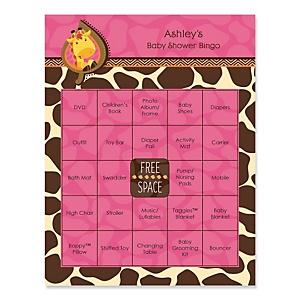 Giraffe Girl - Bingo Personalized Baby Shower Games - 16 Count