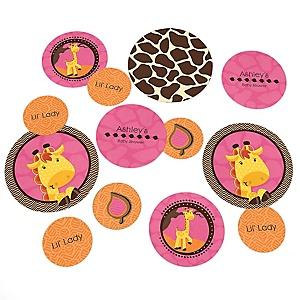 Giraffe Girl - Personalized Baby Shower Table Confetti - 27 ct