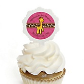 Giraffe Girl - 12 Cupcake Picks & 24 Personalized Stickers - Baby Shower Cupcake Toppers