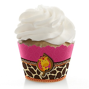 Giraffe Girl - Baby Shower Decorations - Party Cupcake Wrappers - Set of 12