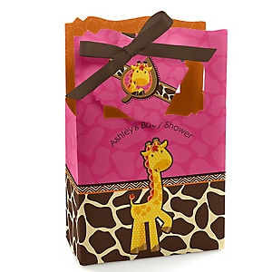 Giraffe Girl - Personalized Baby Shower Favor Boxes - Set of 12