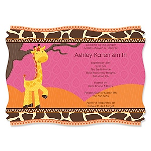 Giraffe Girl Personalized Baby Shower Invitations Set Of 12