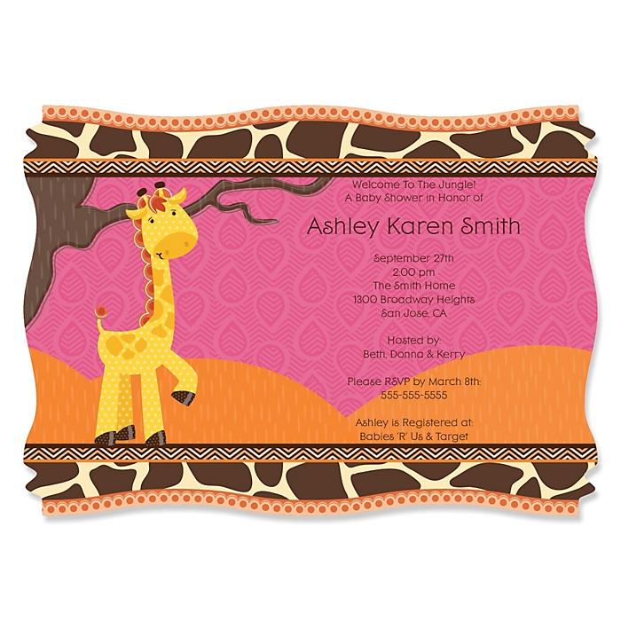 Giraffe Girl - Personalized Baby Shower Invitations - Set of 12