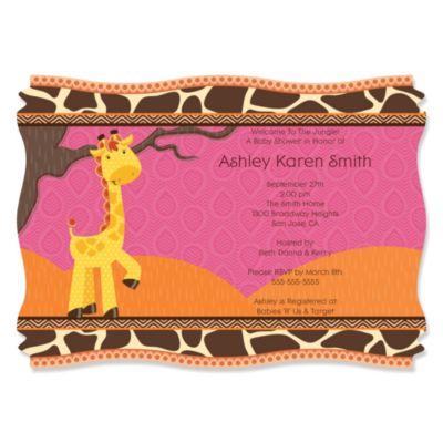 Giraffe Girl   Personalized Baby Shower Invitations