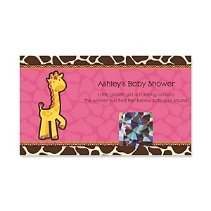 Giraffe Girl - Personalized Baby Shower Game Scratch Off Cards - 22 ct