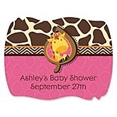 Giraffe Girl - Personalized Baby Shower Squiggle Stickers - 16 ct