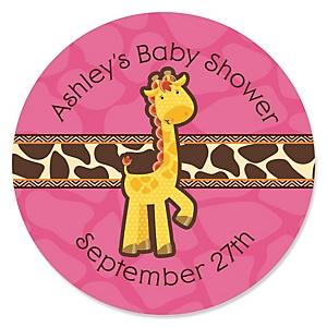 Giraffe Girl - Personalized Baby Shower Sticker Labels - 24 ct