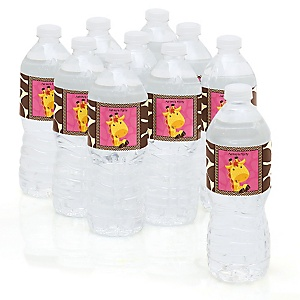 Giraffe Girl - Personalized Party Water Bottle Sticker Labels - Set of 10
