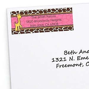 Giraffe Girl - Personalized Birthday Party Return Address Labels - 30 ct