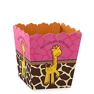 Giraffe Girl - Party Mini Favor Boxes - Personalized Birthday Party Treat Candy Boxes - Set of 12