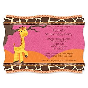 Giraffe Girl - Personalized Birthday Party Invitations - Set of 12