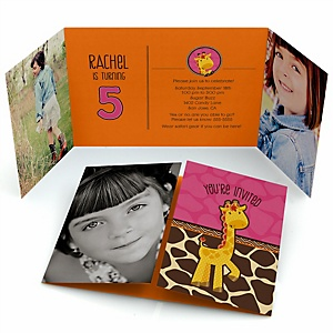 Giraffe Girl - Personalized Birthday Party Photo Invitations - Set of 12
