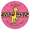 Giraffe Girl - Personalized Birthday Party Sticker Labels - 24 ct