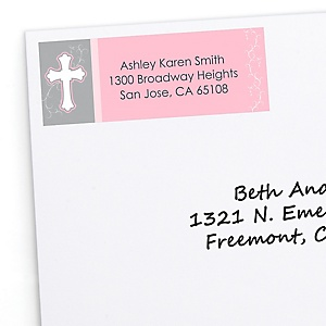 Little Miracle Girl Pink & Gray Cross - Personalized Baby Shower Return Address Labels - 30 ct