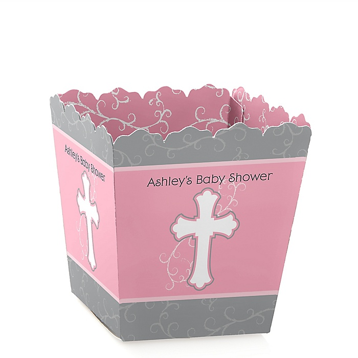 Little Miracle Girl Pink & Gray Cross - Party Mini Favor Boxes - Personalized Baby Shower Treat Candy Boxes - Set of 12