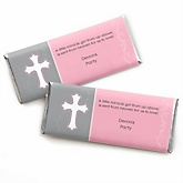 Little Miracle Girl Pink & Gray Cross - Personalized Baby Shower Candy Bar Wrapper Favors