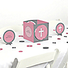 Little Miracle Girl Pink & Gray Cross - Baby Shower Centerpiece & Table Decoration Kit
