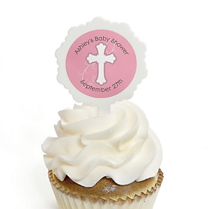Little Miracle Girl Pink & Gray Cross - 12 Cupcake Picks & 24 Personalized Stickers - Baby Shower Cupcake Toppers