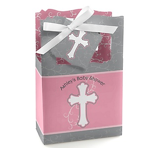 Little Miracle Girl Pink - Gray Cross - Personalized Baby Shower Favor Boxes - Set of 12