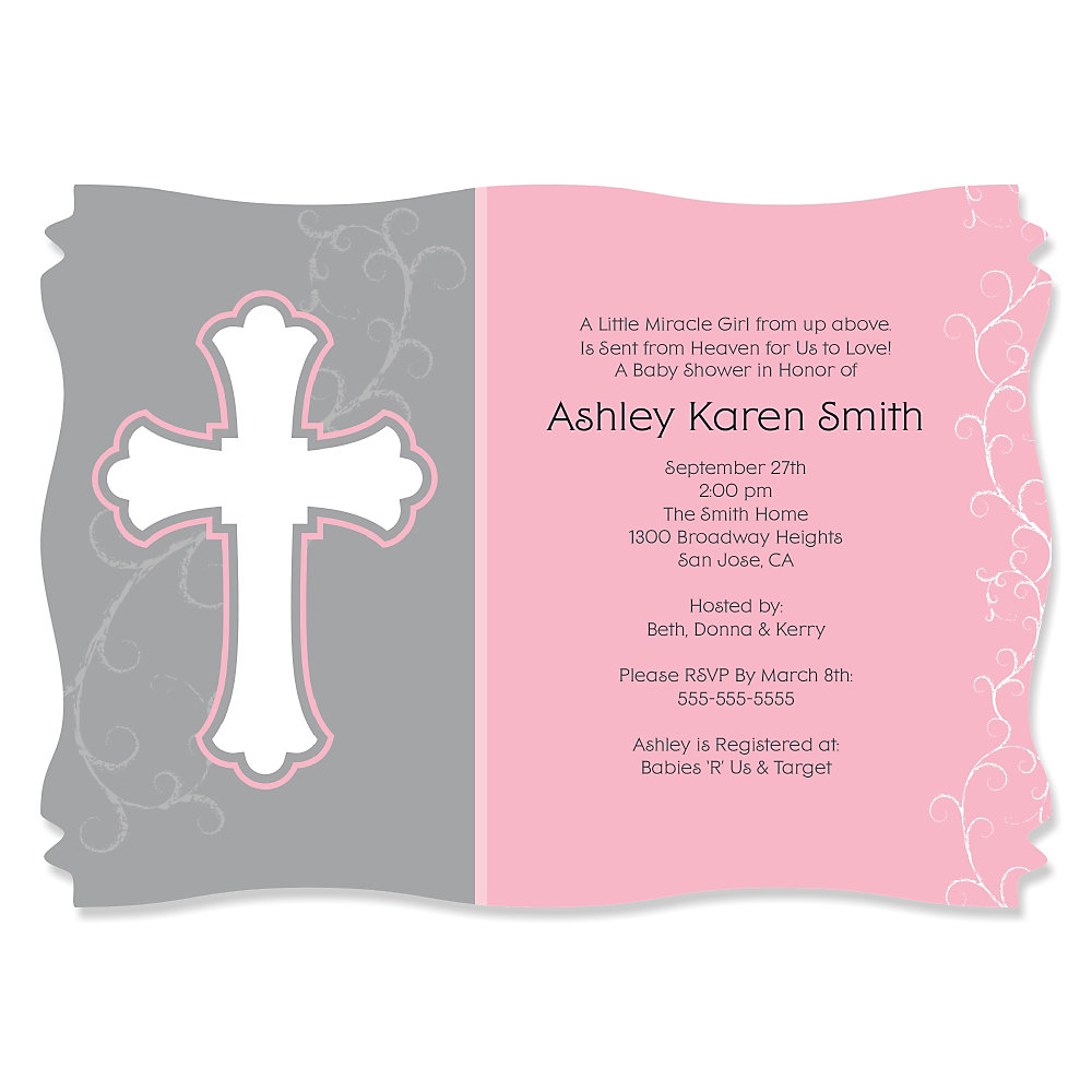 Little Miracle Girl Pink   Gray Cross   Personalized Baby Shower Invitations