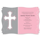 Little Miracle Girl Pink - Gray Cross - Personalized Baby Shower Invitations