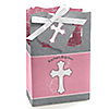 Little Miracle Girl Pink - Gray Cross - Personalized Baptism Favor Boxes