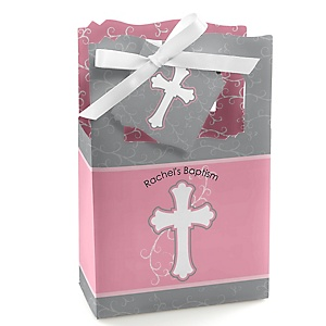 Little Miracle Girl Pink - Gray Cross - Personalized Baptism Favor Boxes - Set of 12