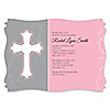 Little Miracle Girl Pink - Gray Cross - Personalized Baptism Invitations
