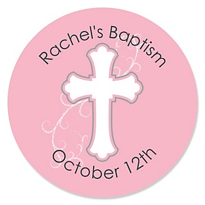 Little Miracle Girl Pink & Gray Cross - Personalized Baptism Sticker Labels - 24 ct