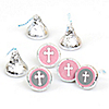 Little Miracle Girl Pink & Gray Cross - Round Candy Labels Party Favors - Fits Hershey's Kisses - 108 ct