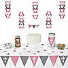 Little Miracle Girl Pink & Gray Cross -  Triangle Party Decoration Kit - 72 Piece