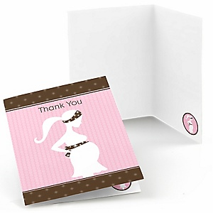 Mommy-To-Be Silhouette – It's A Girl - Baby Shower Thank You Cards - 8 ct