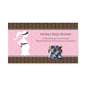 Mommy-To-Be Silhouette – It's A Girl - Personalized Baby Shower Game Scratch Off Cards - 22 ct