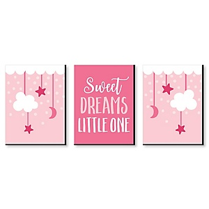 Baby Girl - Pink Nursery Wall Art and Kids Room Decor - 7.5 x 10 inches - Set of 3 Prints