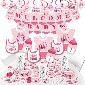 It's a Girl - Pink Baby Shower Supplies - Banner Decoration Kit - Fundle Bundle