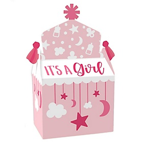 It's a Girl - Treat Box Party Favors - Pink Baby Shower Goodie Gable Boxes - Set of 12